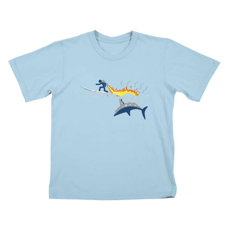 Jet-Pack VS. Shark Kids T-Shirt by Hump