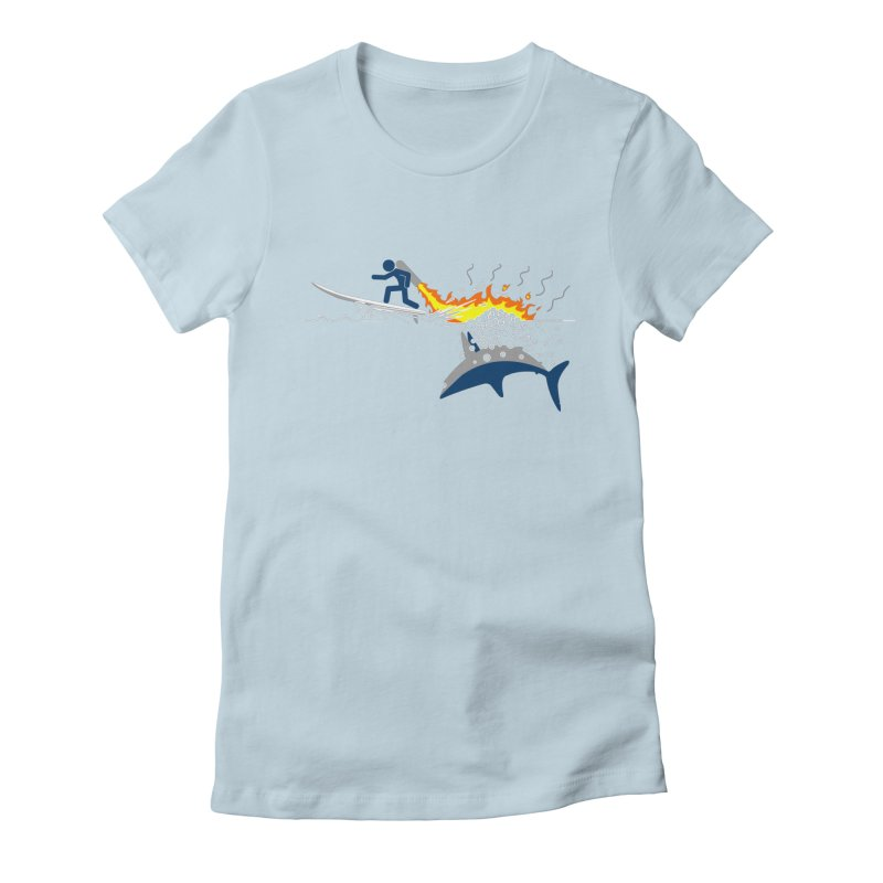 Jet-Pack VS. Shark Women's Fitted T-Shirt by Hump