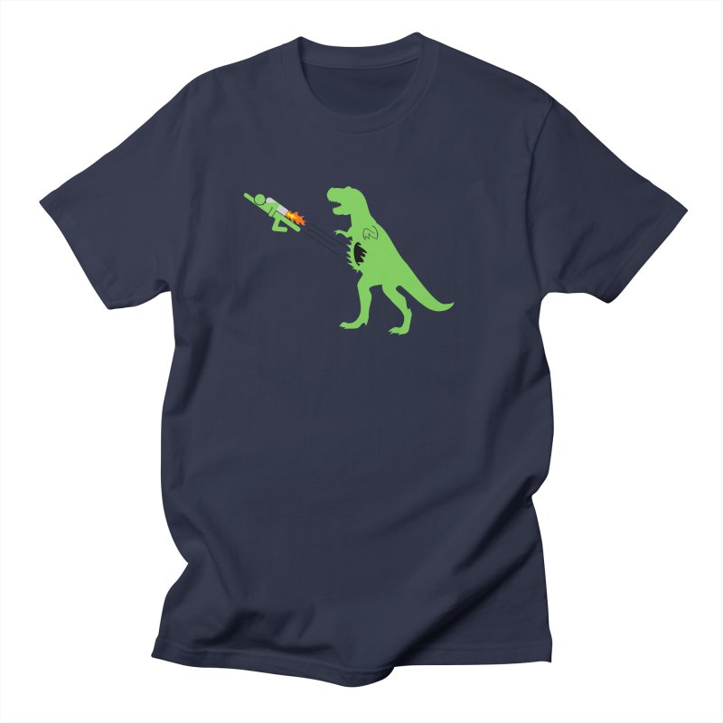 Jet-Pack VS. T-Rex in Men's T-shirt Navy by Hump