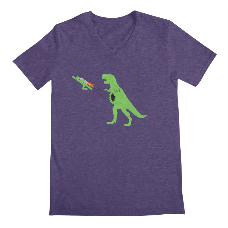 Jet-Pack VS. T-Rex Men's V-Neck by Hump