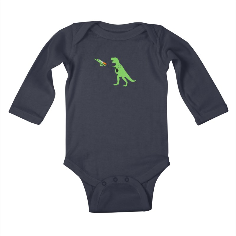 Jet-Pack VS. T-Rex Kids Baby Longsleeve Bodysuit by Hump