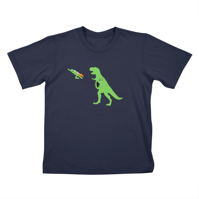 Jet-Pack VS. T-Rex Kids T-shirt by Hump