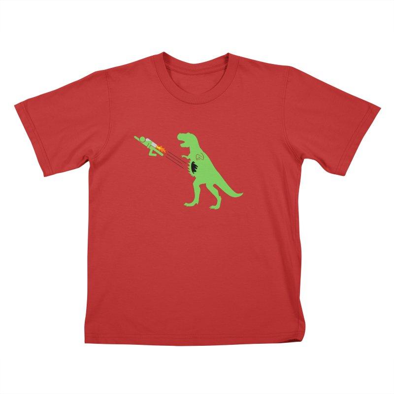 Jet-Pack VS. T-Rex Kids T-Shirt by Hump