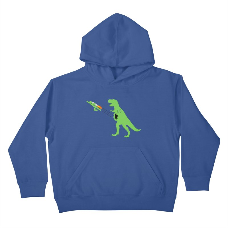 Jet-Pack VS. T-Rex Kids Pullover Hoody by Hump