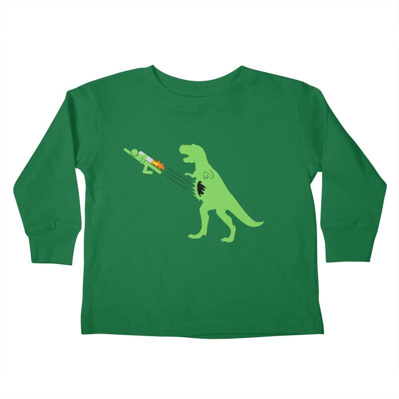 Jet-Pack VS. T-Rex Kids Toddler Longsleeve T-Shirt by Hump