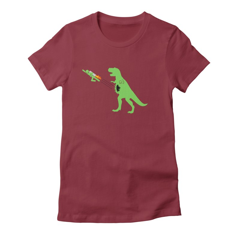 Jet-Pack VS. T-Rex Women's Fitted T-Shirt by Hump