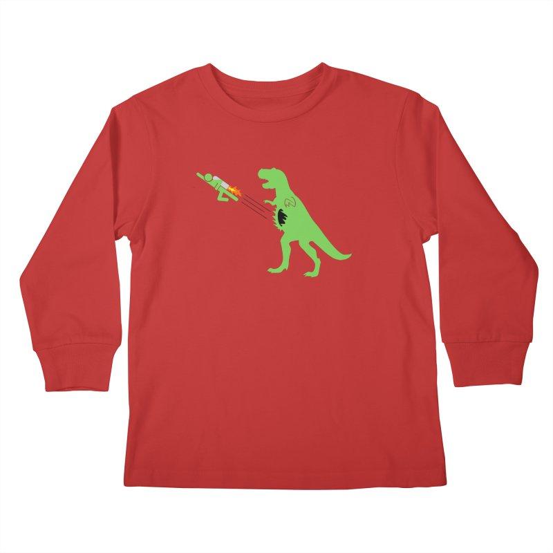 Jet-Pack VS. T-Rex Kids Longsleeve T-Shirt by Hump