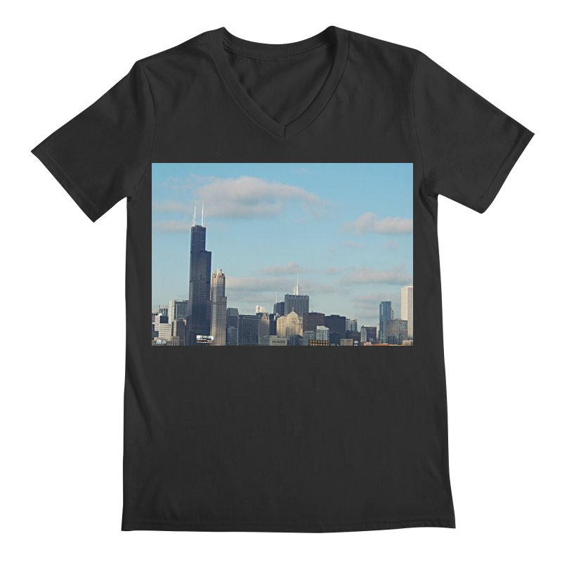 00 IllState Of Mind-Chi 94 Willis Tower Men's Regular V-Neck by HUNDRED