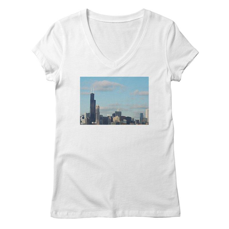 00 IllState Of Mind-Chi 94 Willis Tower Women's Regular V-Neck by HUNDRED