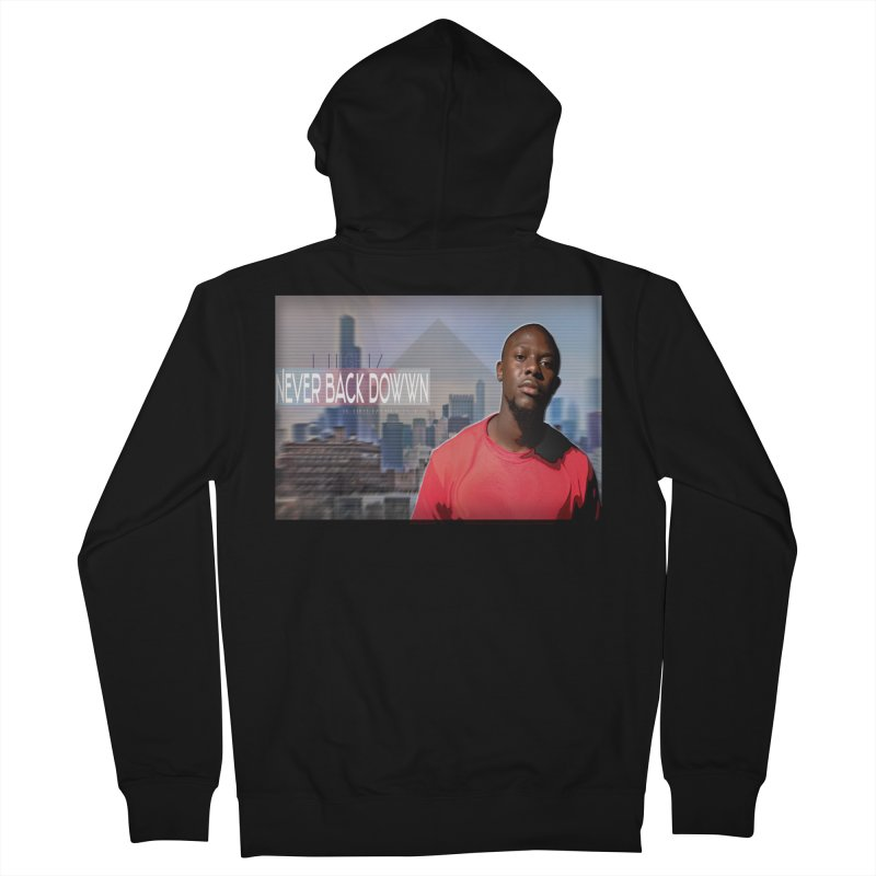Joe Mighty Never Back Down  Men's French Terry Zip-Up Hoody by HUNDRED
