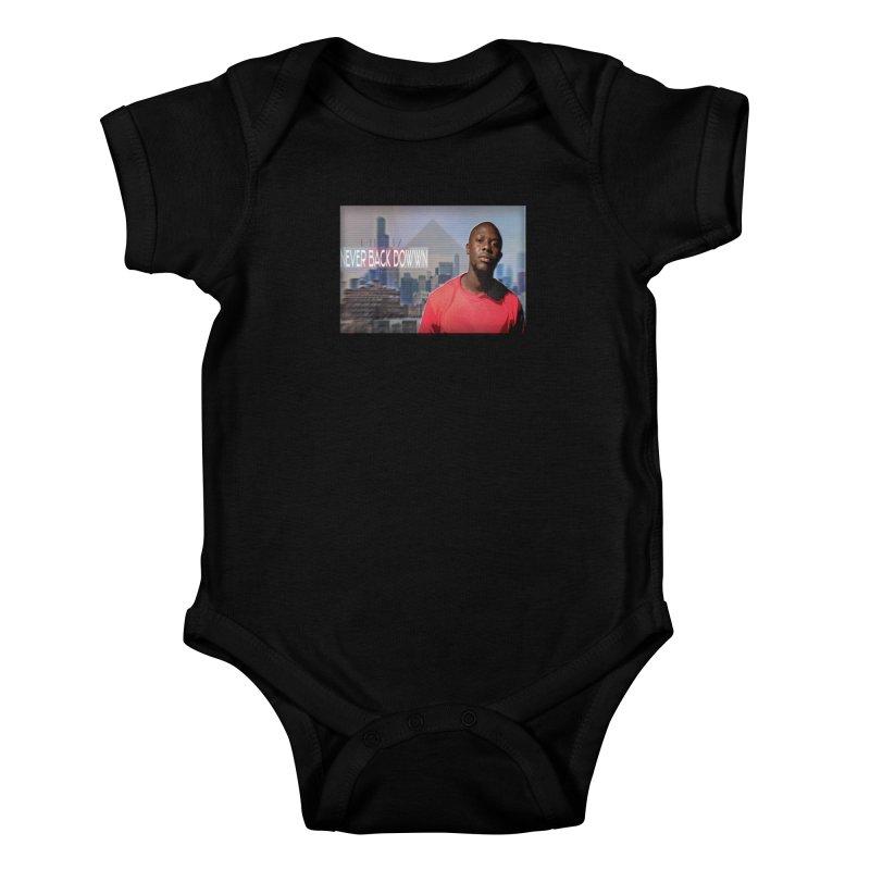 Joe Mighty Never Back Down  Kids Baby Bodysuit by HUNDRED