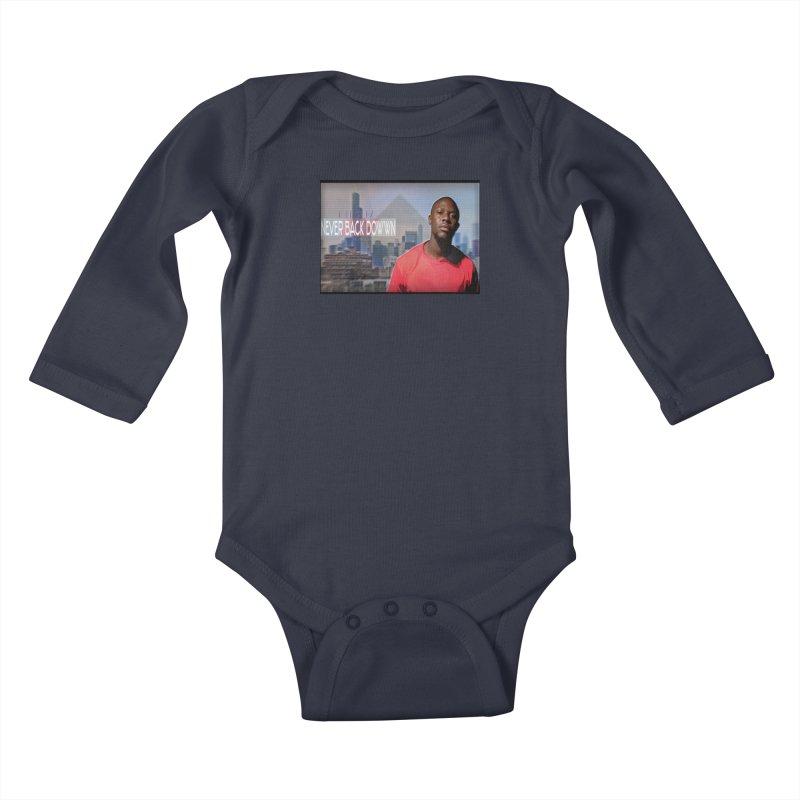 Joe Mighty Never Back Down  Kids Baby Longsleeve Bodysuit by HUNDRED
