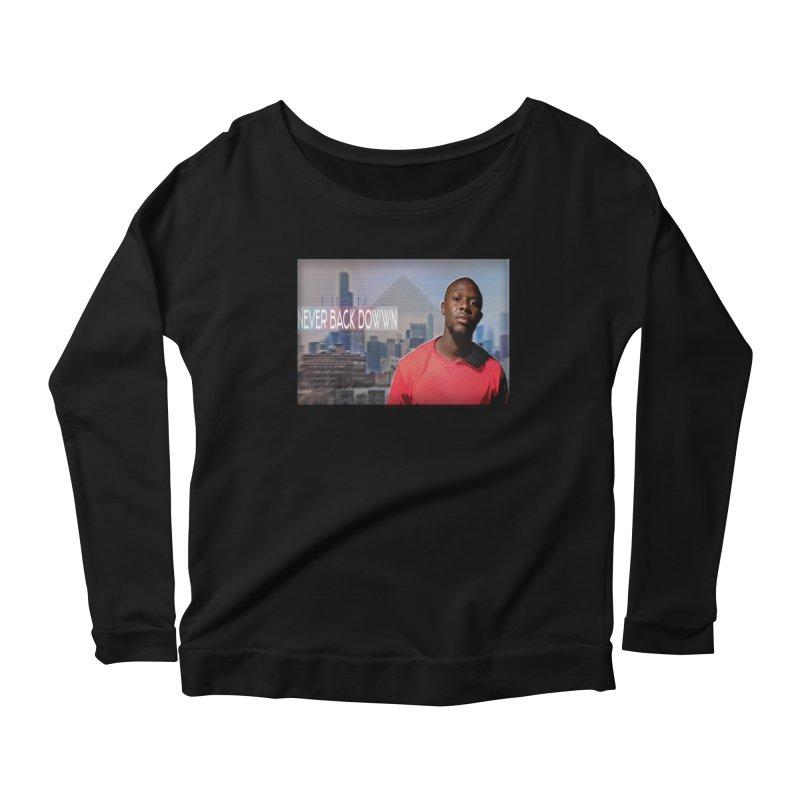 Joe Mighty Never Back Down  Women's Scoop Neck Longsleeve T-Shirt by HUNDRED