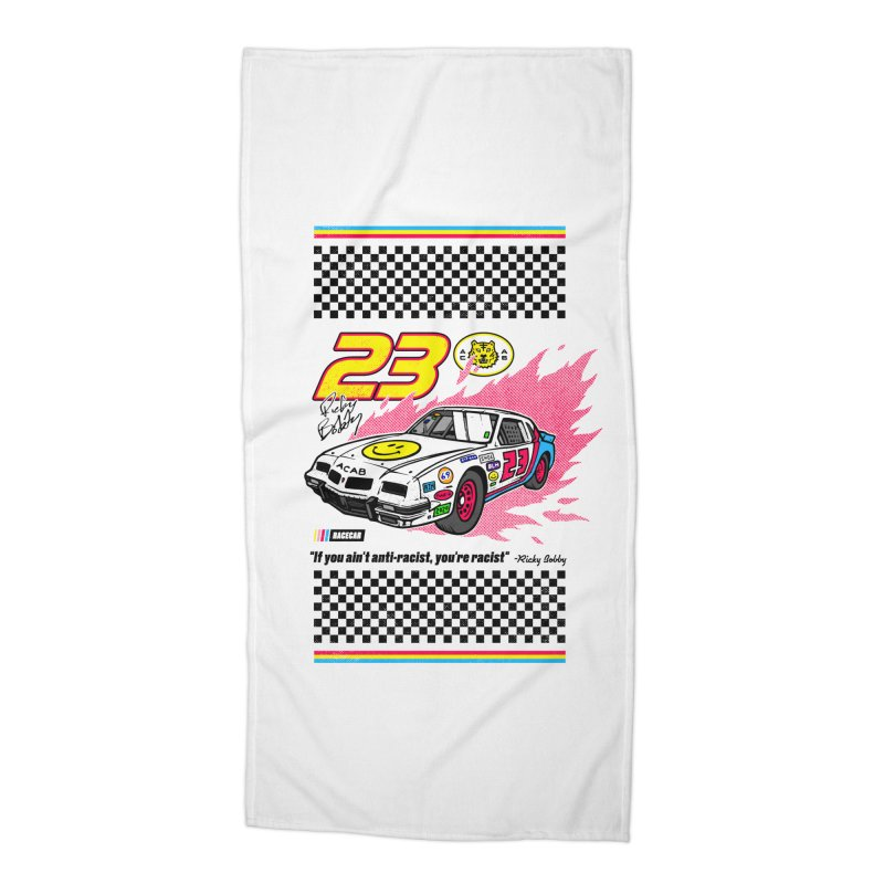 Anti-Racist Racecar Beach Towel Accessories Beach Towel by Hungry Design Club