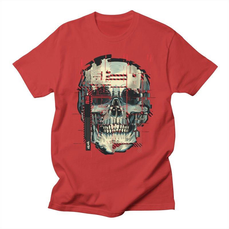Glitch Skull Men's T-Shirt by HYDRO74