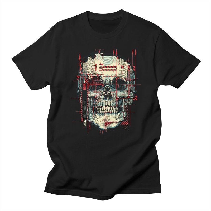 Glitch Skull in Men's Regular T-Shirt Black by HYDRO74
