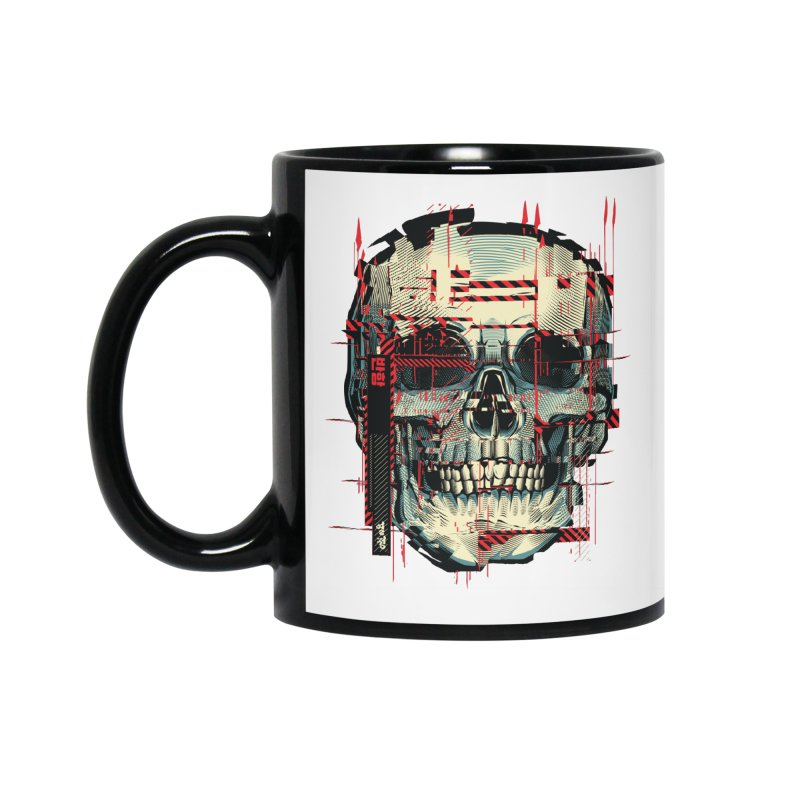 Glitch Skull Accessories Mug by HYDRO74