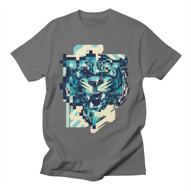 Glitch Tiger Men's T-Shirt by HYDRO74