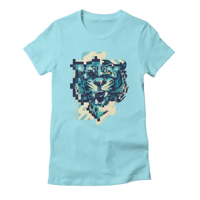 Glitch Tiger Women's T-Shirt by HYDRO74