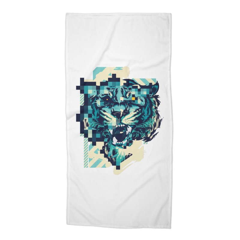 Glitch Tiger Accessories Beach Towel by HYDRO74