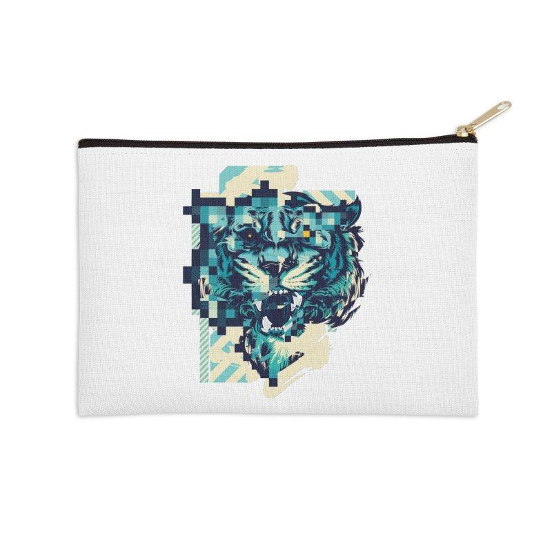 Glitch Tiger Accessories Zip Pouch by HYDRO74