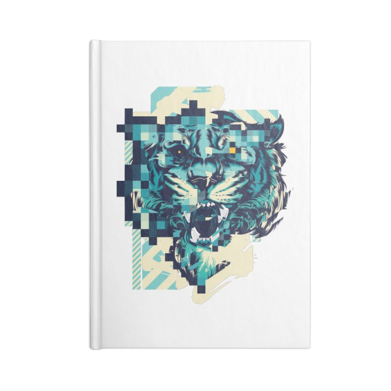 Glitch Tiger Accessories Lined Journal Notebook by HYDRO74