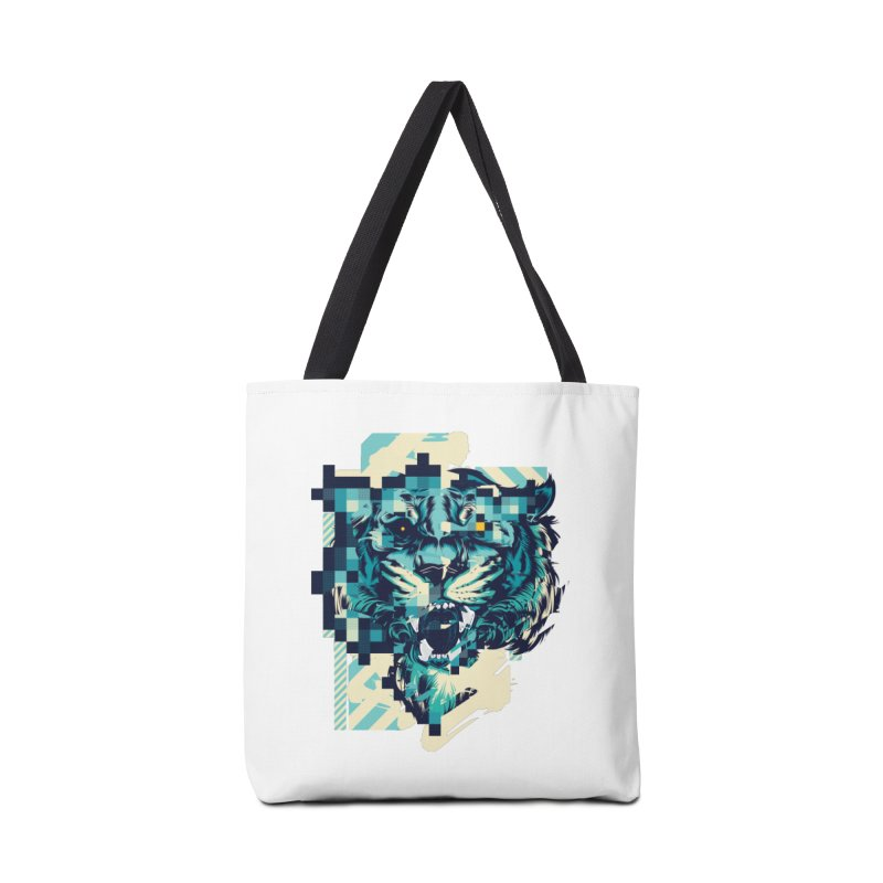 Glitch Tiger Accessories Tote Bag Bag by HYDRO74