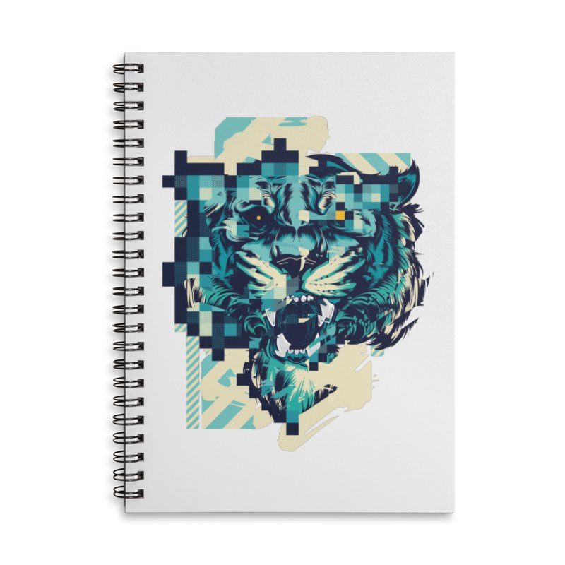 Glitch Tiger Accessories Lined Spiral Notebook by HYDRO74