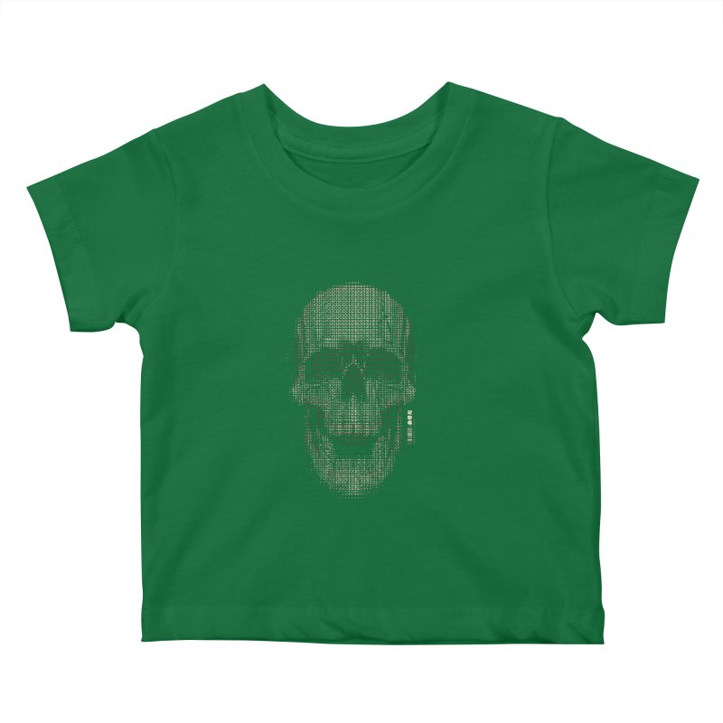 Grid Skull Kids Baby T-Shirt by HYDRO74