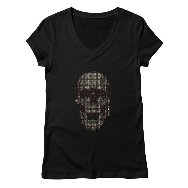 Grid Skull Women's V-Neck by HYDRO74