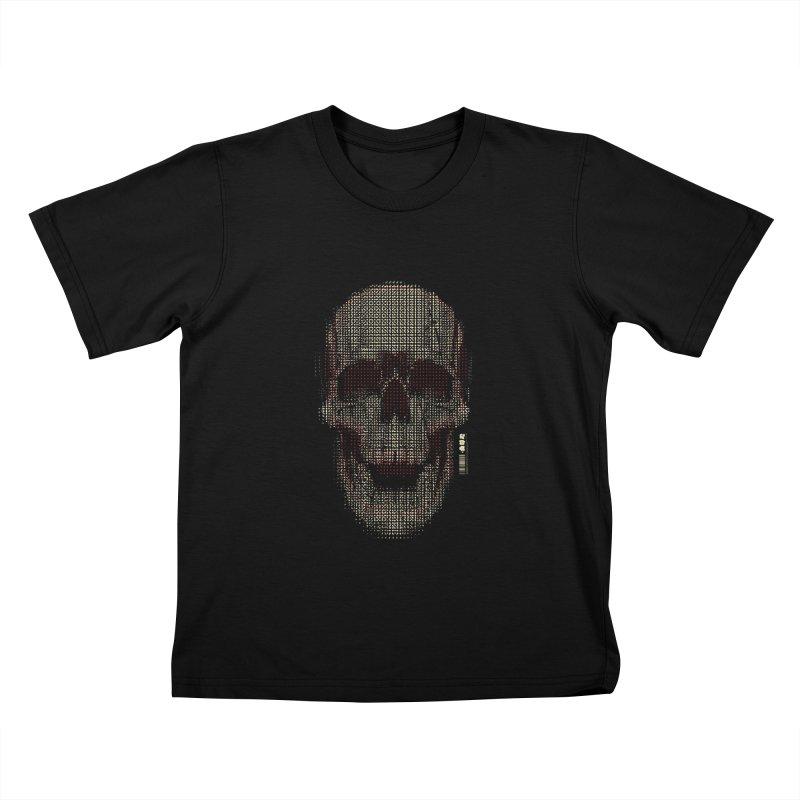 Grid Skull Kids T-Shirt by HYDRO74