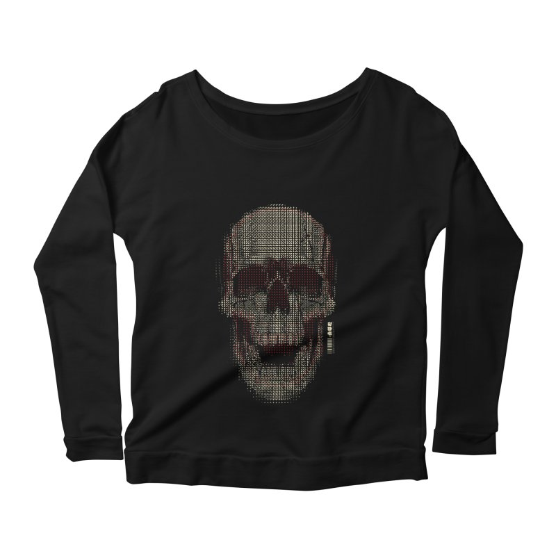 Grid Skull Women's Scoop Neck Longsleeve T-Shirt by HYDRO74