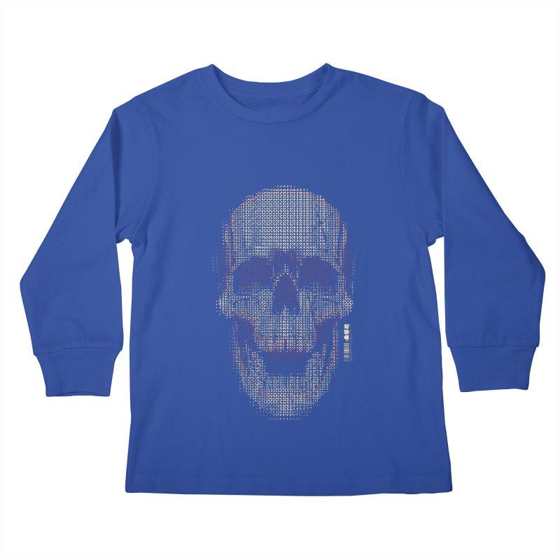 Grid Skull Kids Longsleeve T-Shirt by HYDRO74