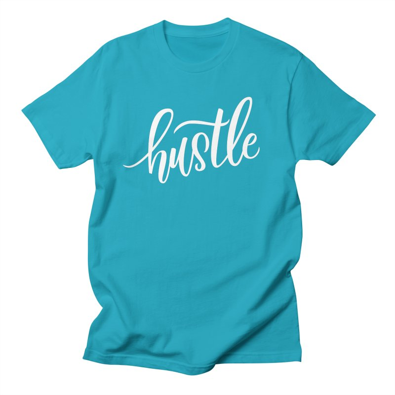 hustle in Men's Regular T-Shirt Cyan by Hyssop Design