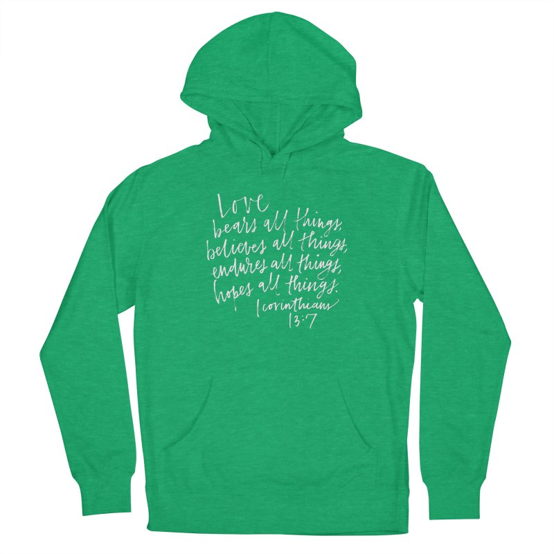 love bears all things - 1 corinthians 13:7 Men's French Terry Pullover Hoody by Hyssop Design