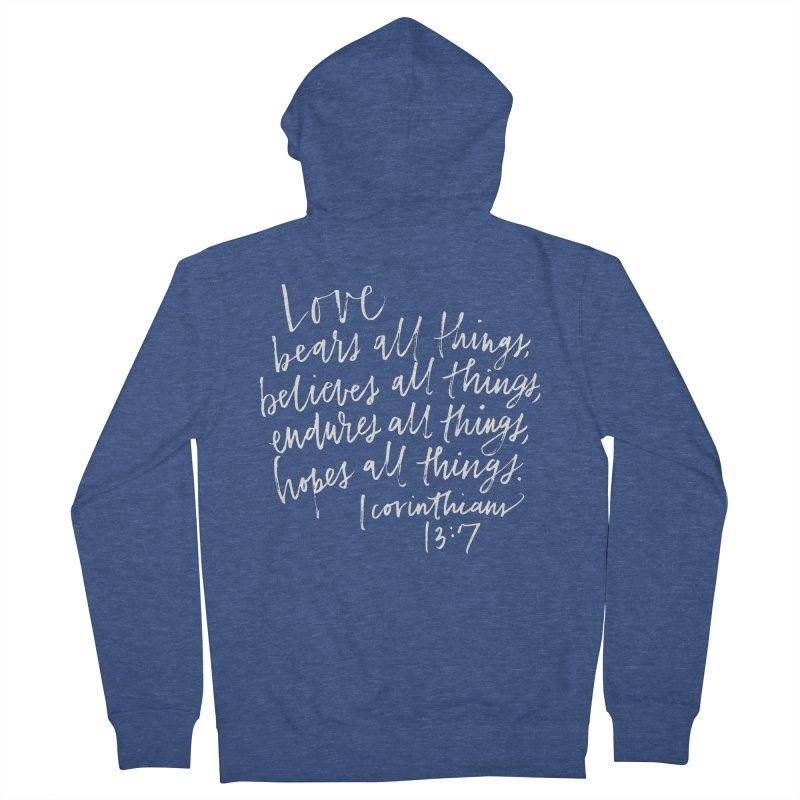 love bears all things - 1 corinthians 13:7 Women's French Terry Zip-Up Hoody by Hyssop Design
