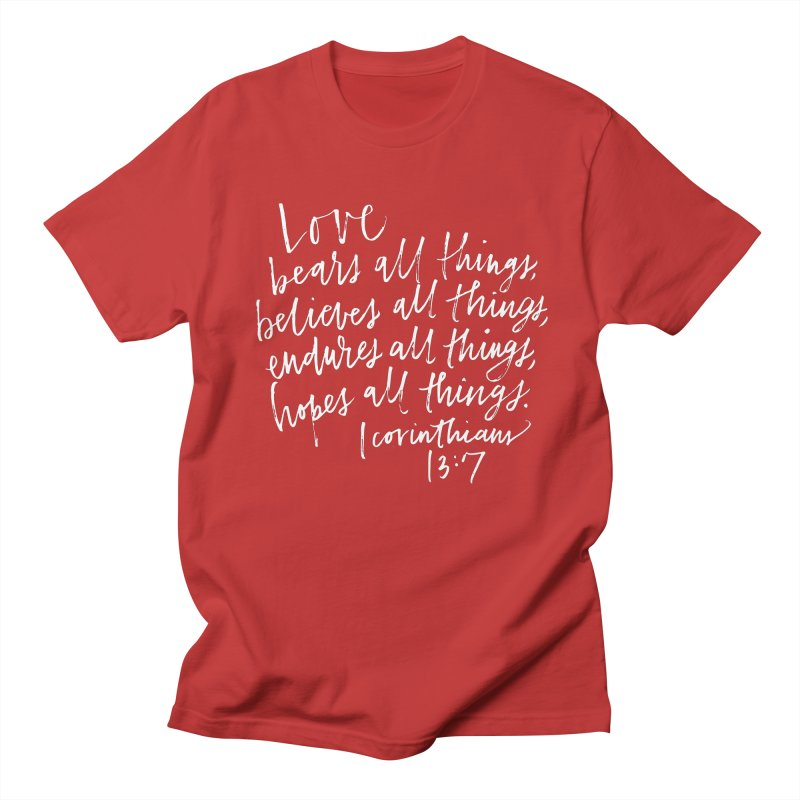love bears all things - 1 corinthians 13:7 Men's Regular T-Shirt by Hyssop Design