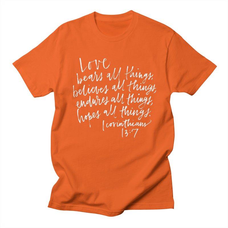 love bears all things - 1 corinthians 13:7 Men's Regular T-Shirt by Hyssop Design