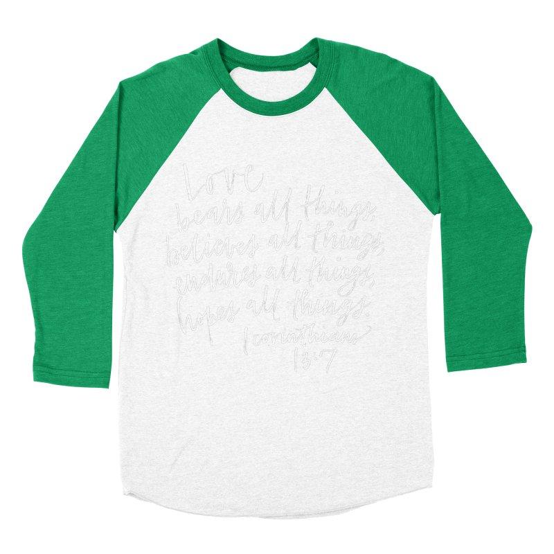 love bears all things - 1 corinthians 13:7 Women's Baseball Triblend Longsleeve T-Shirt by Hyssop Design