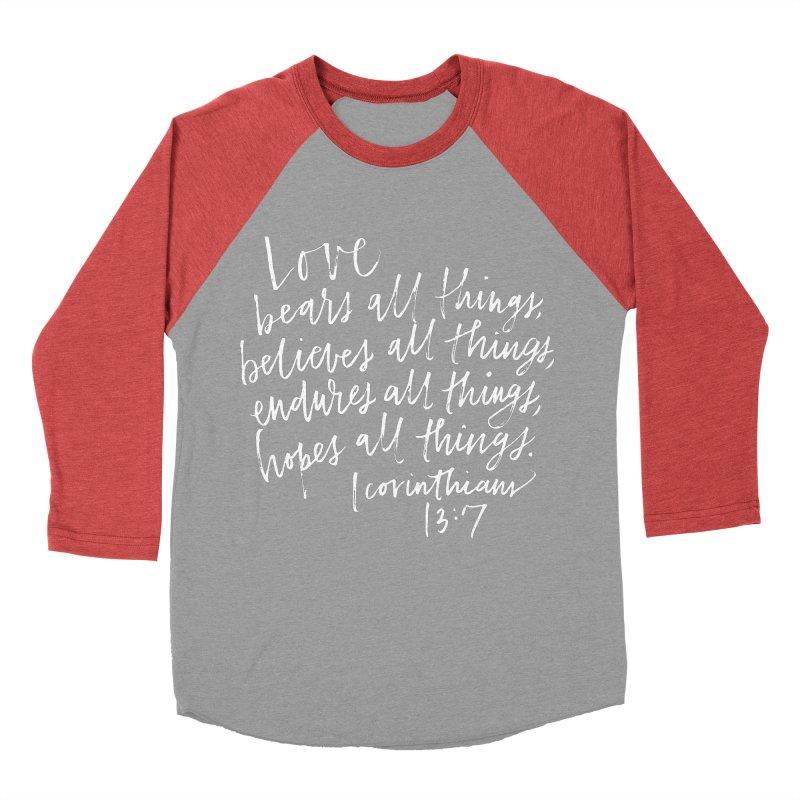 love bears all things - 1 corinthians 13:7 Men's Baseball Triblend Longsleeve T-Shirt by Hyssop Design