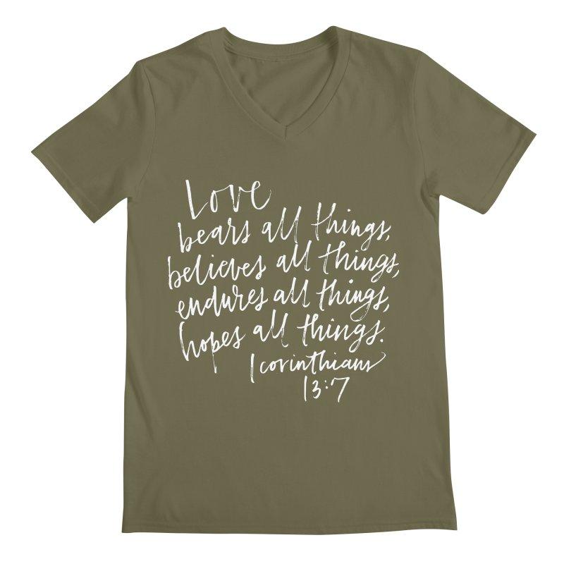 love bears all things - 1 corinthians 13:7 Men's Regular V-Neck by Hyssop Design