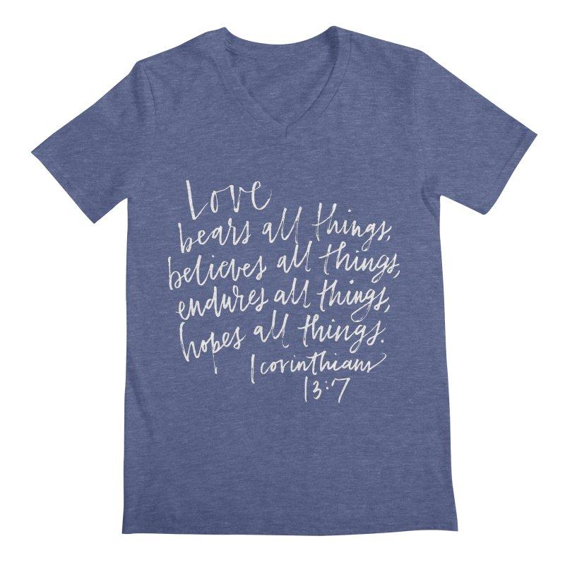 love bears all things - 1 corinthians 13:7 Men's V-Neck by Hyssop Design