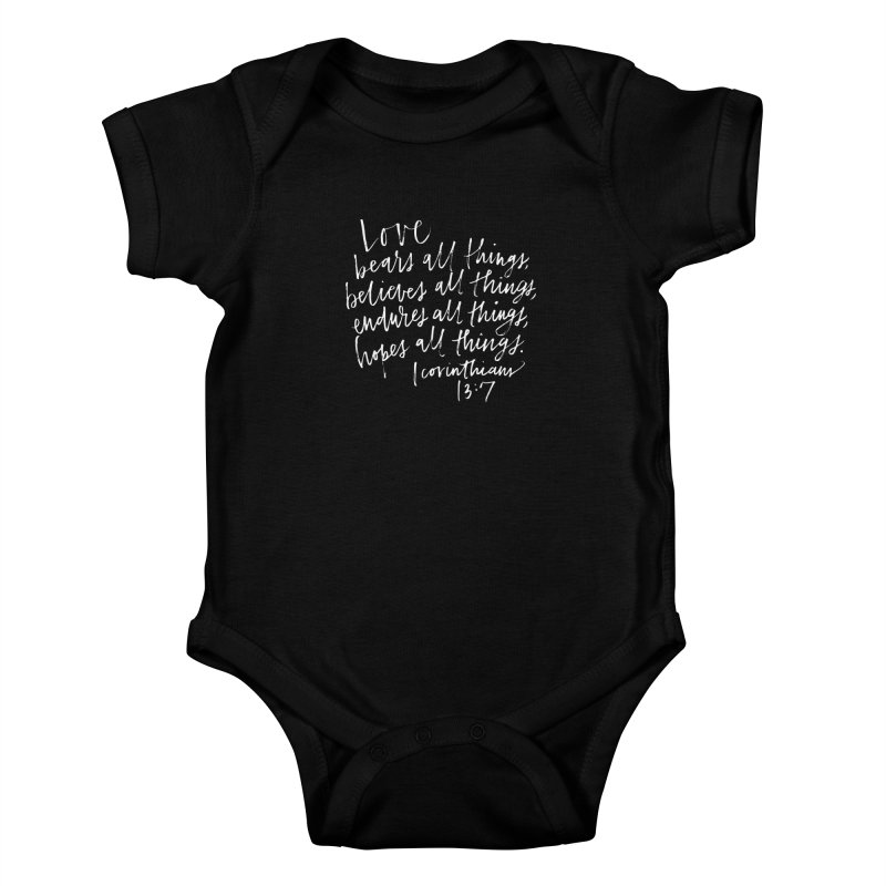 love bears all things - 1 corinthians 13:7 Kids Baby Bodysuit by Hyssop Design
