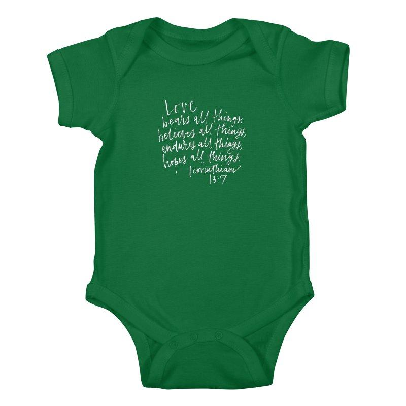love bears all things - 1 corinthians 13:7 Kids Baby Bodysuit by Hyssop Design