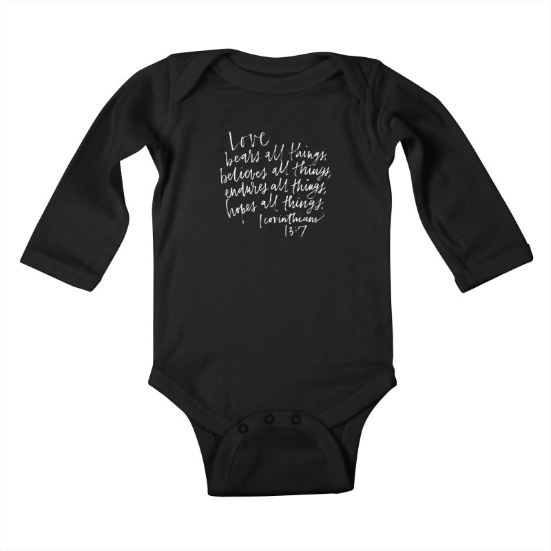 love bears all things - 1 corinthians 13:7 Kids Baby Longsleeve Bodysuit by Hyssop Design
