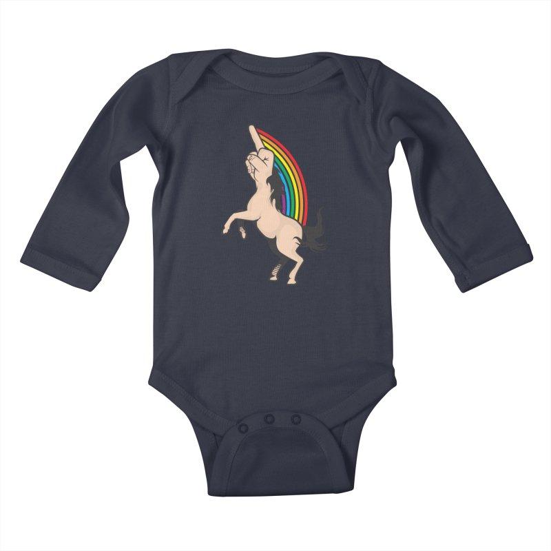 Fuckunicorn Kids Baby Longsleeve Bodysuit by I am a graphic designer