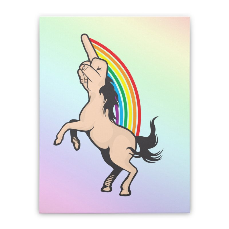 Fuckunicorn Home Stretched Canvas by I am a graphic designer