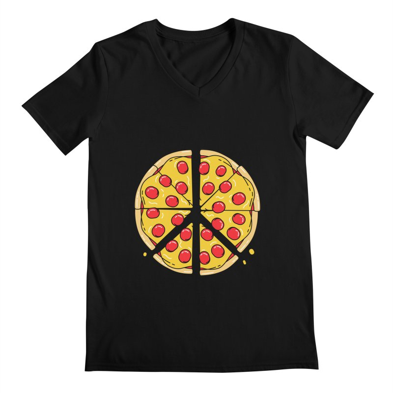 Give Pizza Chance Men's Regular V-Neck by I am a graphic designer