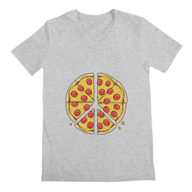Give Pizza Chance Men's Regular V-Neck by I am a graphic designer