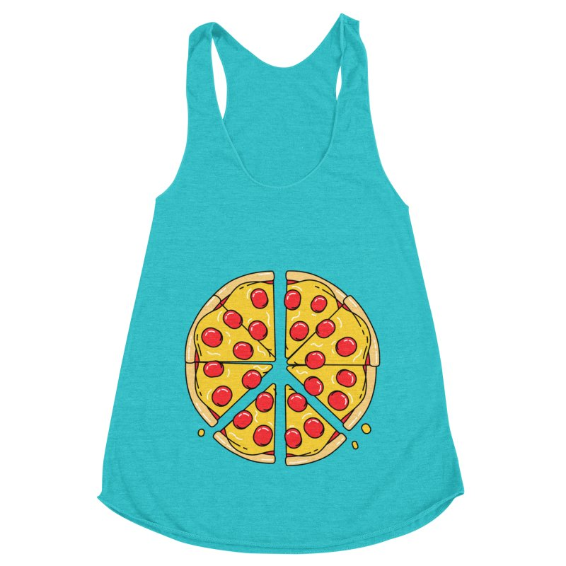 Give Pizza Chance Women's Racerback Triblend Tank by I am a graphic designer